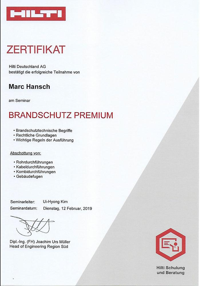 Hilti Brandschutz Zertifikat